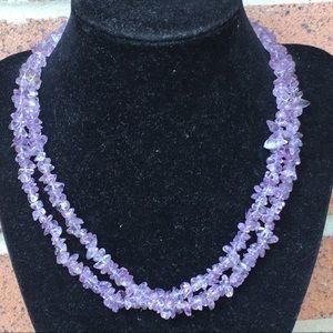 Purple quartz/amethyst healing necklace